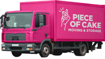 Pink Piece of Moving & Storage truck