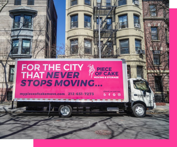 Piece of Cake Moving & Storage NYC - pink trucsk