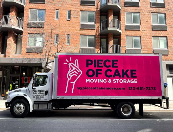 Piece of Cake Moving & Storage truck in NYC