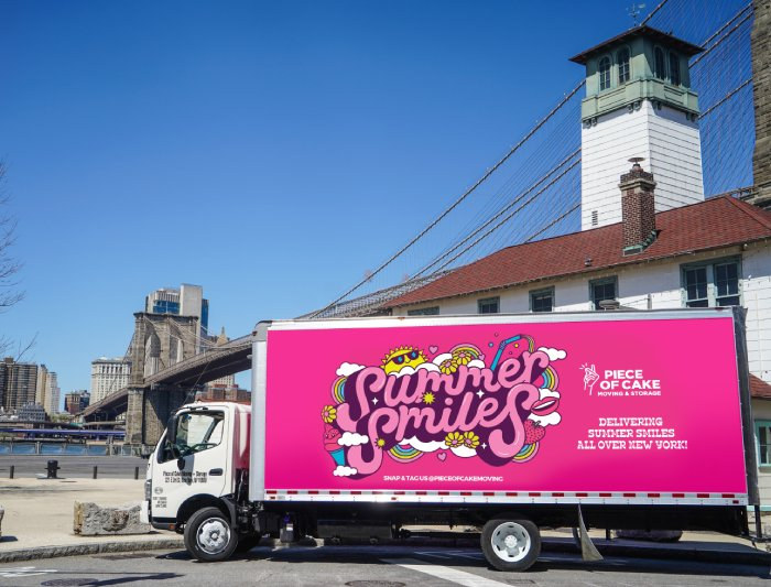 Summer Smiles pink moving truck NYC