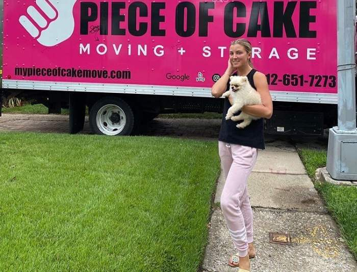 Woman moving with a dog